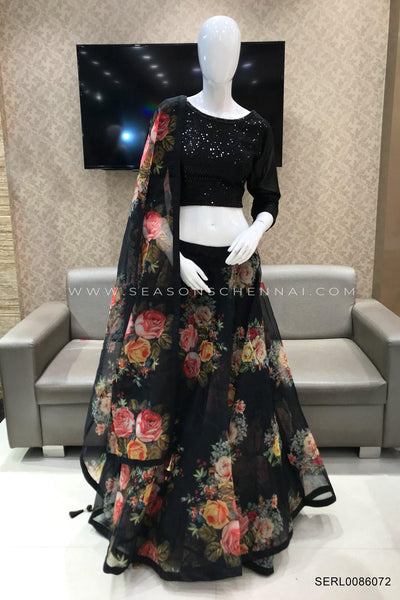 Black Sequins and Floral Printed Crop Top Lehenga - View 1