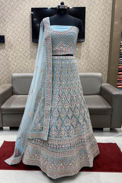 Sky Blue Stone, Mirror and Embroidery work Semi-Stitched Designer Bridal Lehenga - View 1