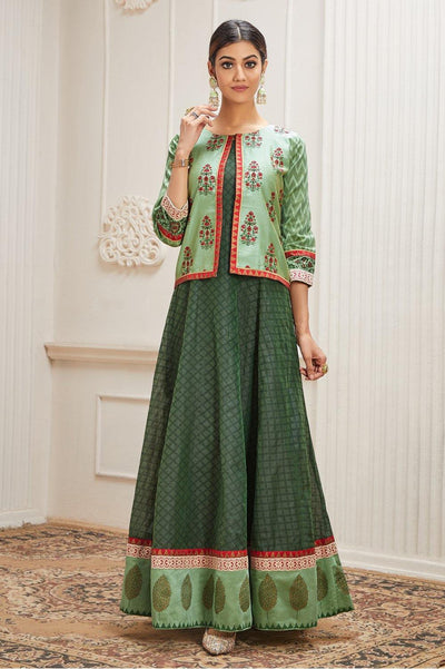 Pine Green with Oil and Block Print Long Kurti - View 1