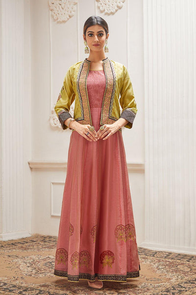 Onion Pink and Lime Green Overcoat Long Kurti - View 1