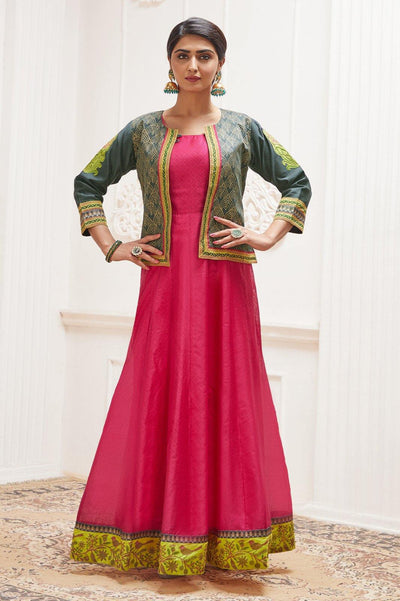 Pink with Dark Grey Overcoat Long Kurti - 1