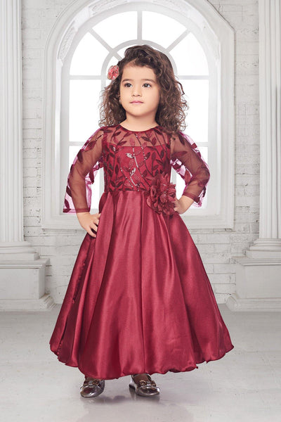 Maroon Sequins Work Long Party Gown For Girls - View 1
