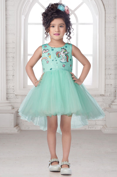 Turquoise Blue Digital Printed Unicorn Party Frock for Girls - View 1