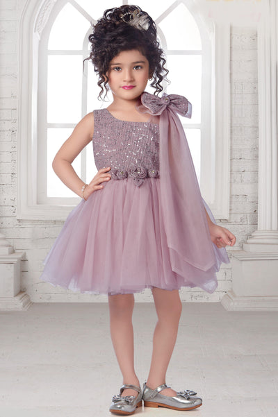 Lilac Sequins Patterned Party Frock for Girls