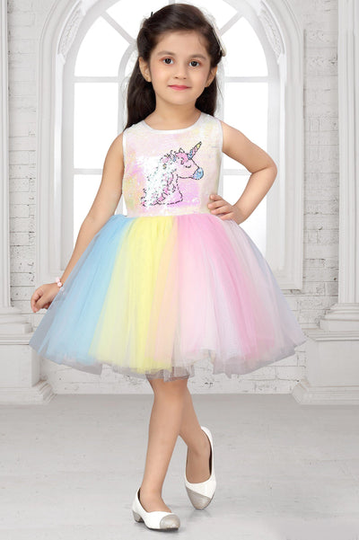 Multicolour Digital Printed Unicorn Party Frock for Girls