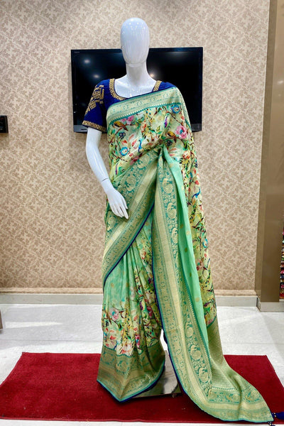 Mint Green Digital Print Banarasi Dola Silk Saree - Cover View