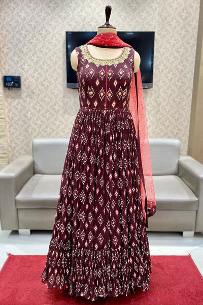 Mulberry Maroon Mirror Work Floor Length Georgette Anarkali Suit - View 1
