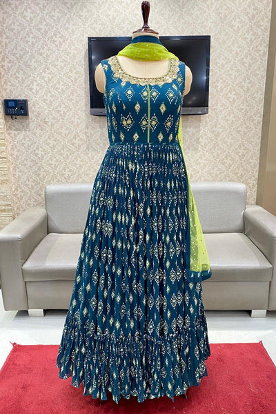 Peacock Blue Mirror Work Floor Length Georgette Anarkali Suit - View 1