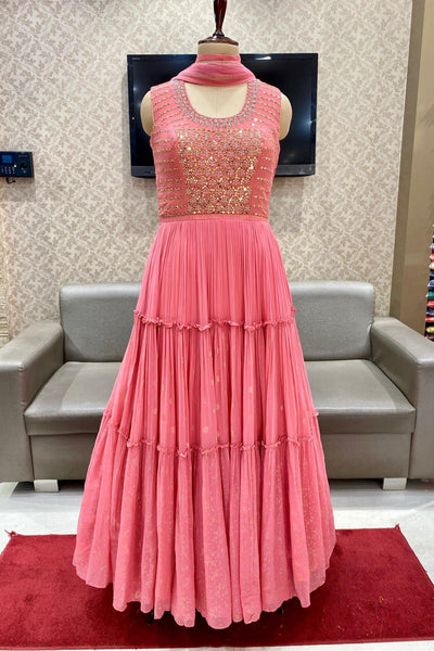 Pink Mirror and Zardosi Work Floor Length Anarkali Suit - View 1