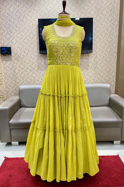 Yellow with Mirror and Zardosi Work Floor Length Anarkali Suit - View 1