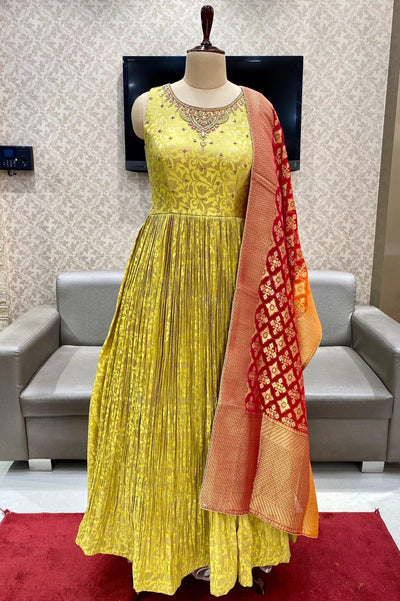 Yellow with Maroon Thread and Beadwork Anarkali Suit - View 1