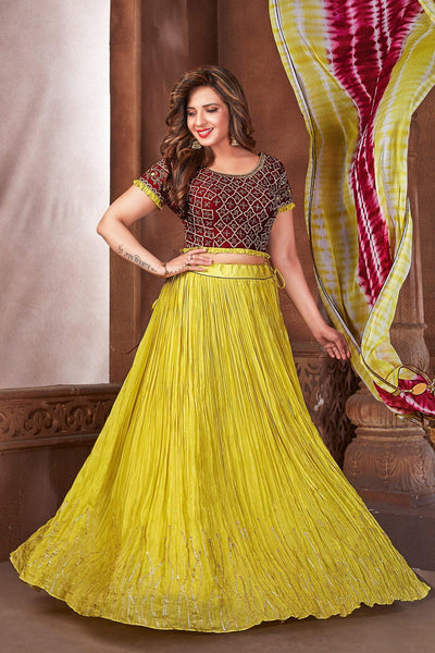 Magenta and Yellow Zardosi and Beaded Short Sleeved Crop Top Lehenga 1