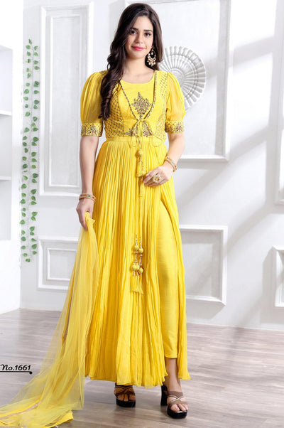 Yellow Mirror and ThreadWork Indo Western Anarkali Suit  - View 1
