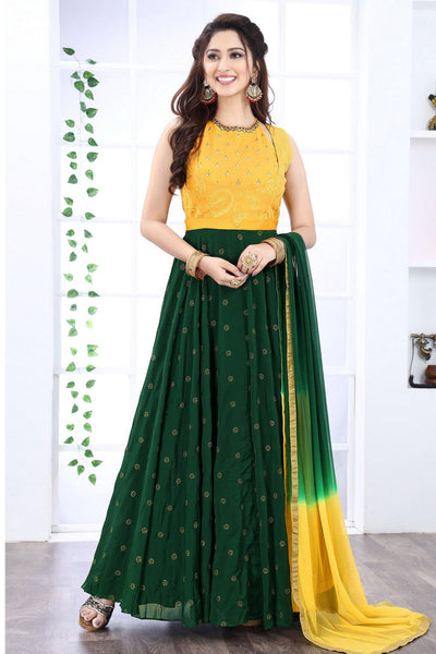 Yellow and Green Mirror and Threadwork Anarkali Suit  -View 1
