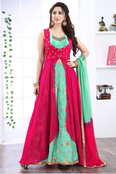 Pink and Blue Thread and Aari Work Anarkali Suit - View 1