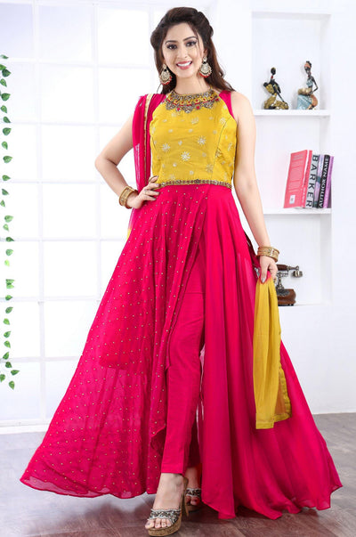 Pink and Yellow Indo Western Anarkali with Straight Pants -View 1