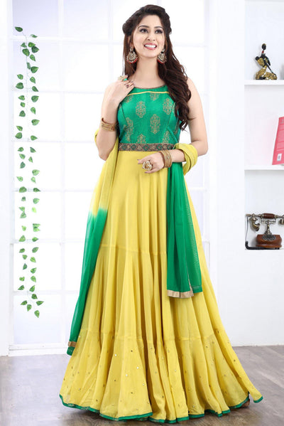 Pastel Green and Lemon Yellow Mirror and Foilwork Anarkali Suit -View 1
