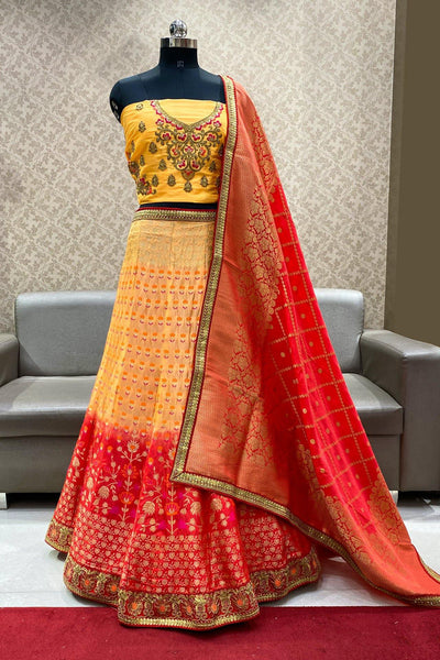 Peach and Red Banarasi Semi-Stitched Lehenga - SeasonsChennai