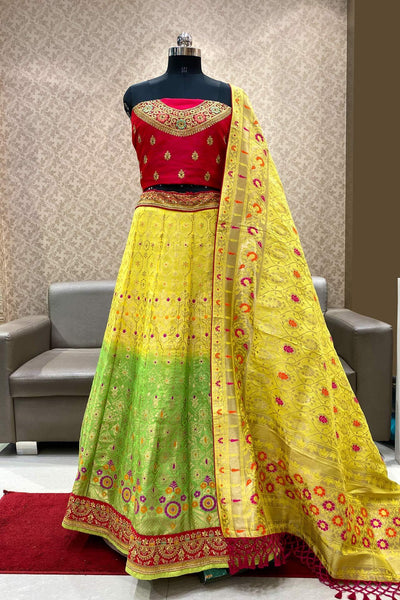 Yellow with Green Dual Tone Banarasi Semi-Stitched Lehenga - SeasonsChennai