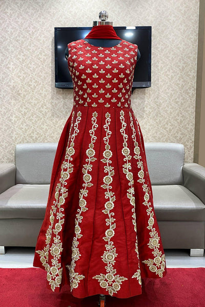 Maroon Embroidery and Stonework Anarkali Salwar Suit