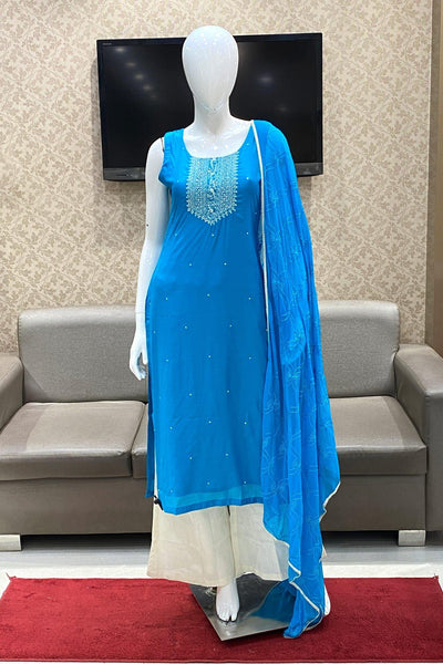 Blue Mirror and Threadwork Salwar Suit with Palazzo Pants -View 1