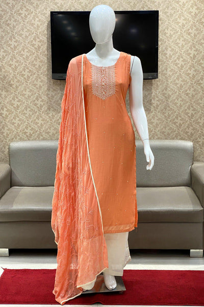 Peach Mirror and Threadwork Salwar Suit with Palazzo Pants