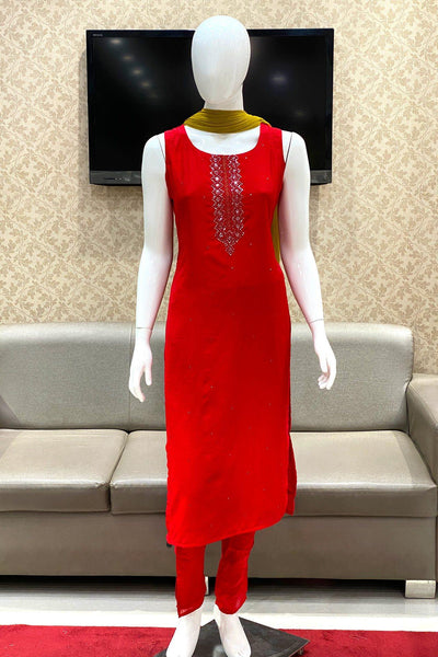 Red Bead, Mirror and Threadwork Straight Cut Salwar Suit