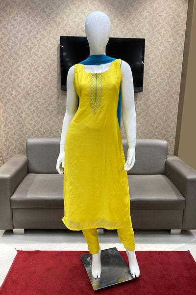 Lemon Green With Contrast Bead, Mirror and Threadwork Salwar Suit