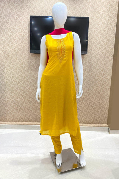 Yellow With Contrast Bead, Mirror and Threadwork Salwar Suit