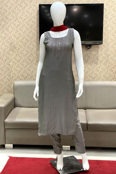 Grey With Bead, Mirror and Threadwork Salwar Suit