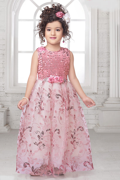 Onion Pink Sequins and Embroidery Pattern Long Party Gown for Girls - View 1