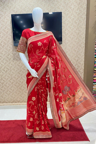 Red Zari, Aari and Sequins Work Brasso Silk Saree - SERP00ANANTAA1501A - View 1'