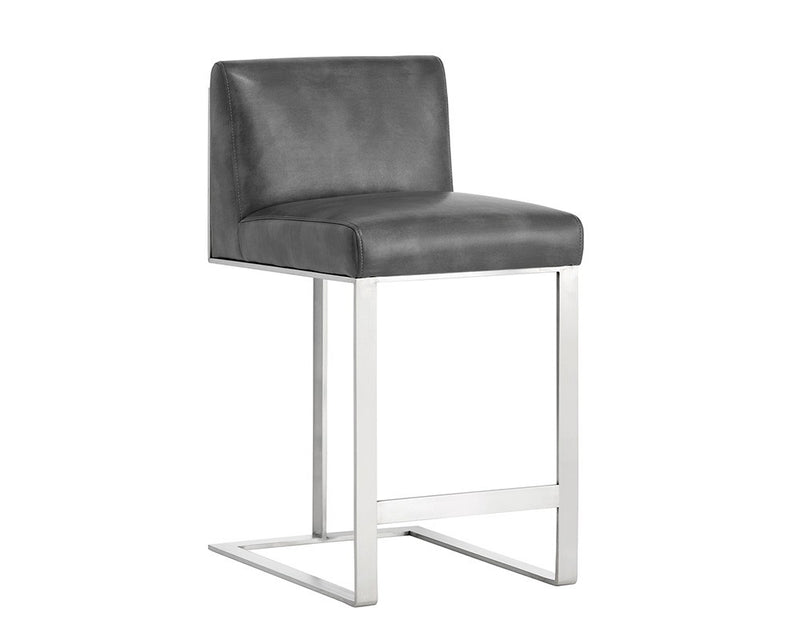 Drake Counter Stool - Stainless Steel - Grey