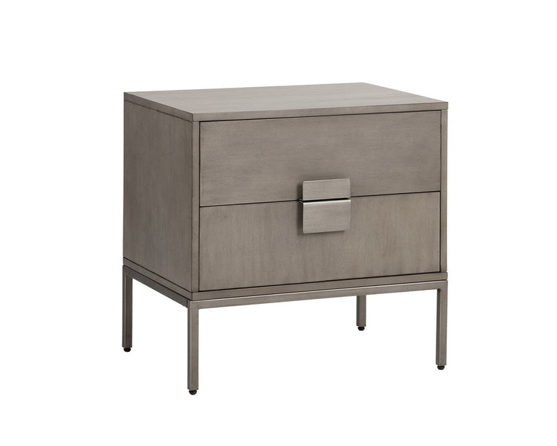 Brickell  Nightstand - Antique Silver - Ash Grey