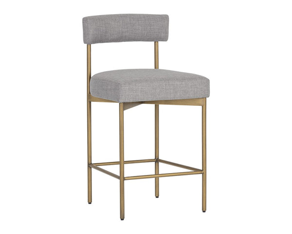 Cortel Counter Stool - Antique Brass & Cement
