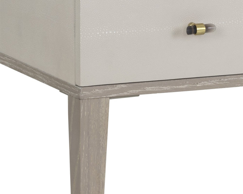 Downton Desk - White Ceruse - Cream Shagreen