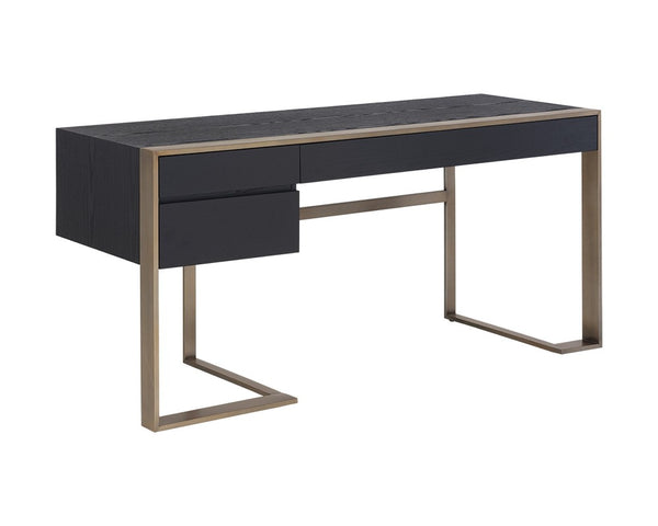 Hamilton Desk - Antique Brass - Black