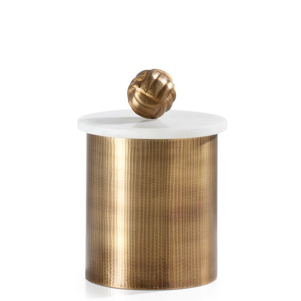 "Tomar Antique Brass Ribbed 7.5h"" Canister"