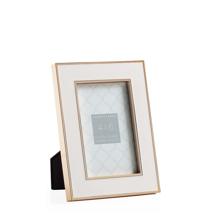 "Gold Trim White Enamel 4 x 6"" Photo Frame"