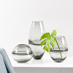 "Saturn Ring 9h"" Glass Sphere Vase - Smoke"