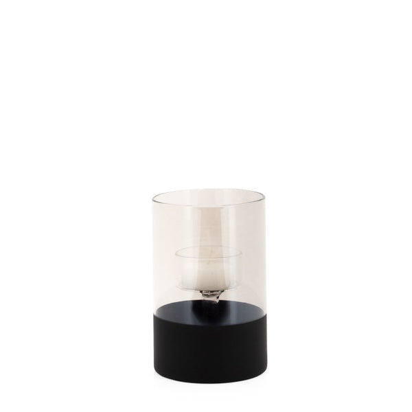 "Onyx Base Smoke Glass Cylinder 5h"" Tealight Holder"