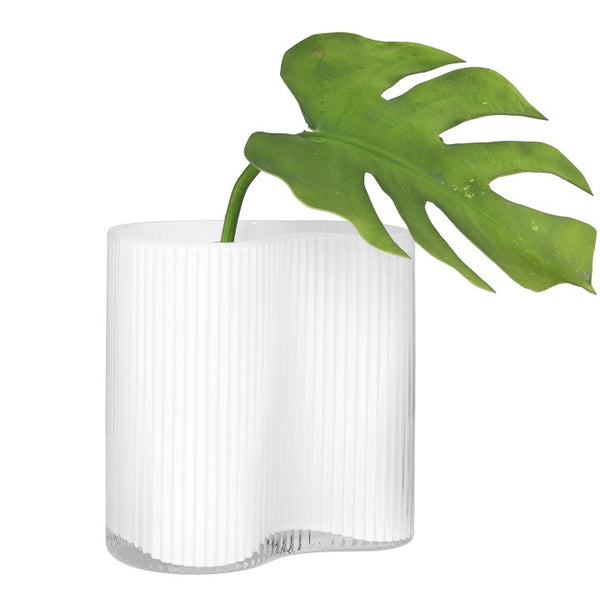 "Contour Pinched Ribbed Glass Vase 7"" - White"