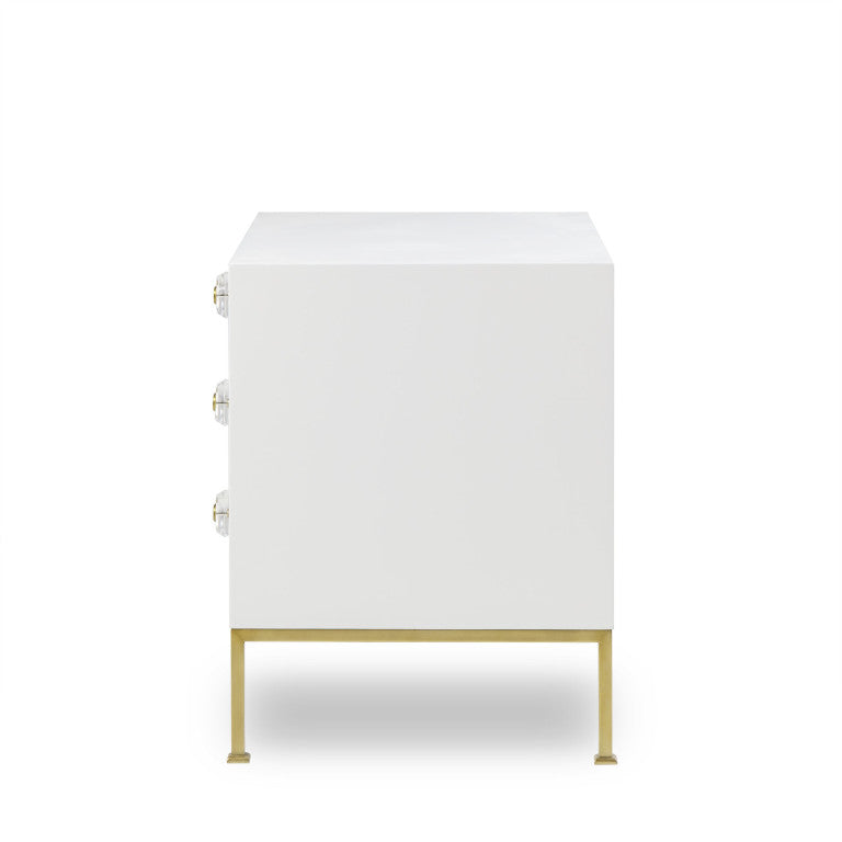 Formal 3 Drawer White Lacquer Nightstand