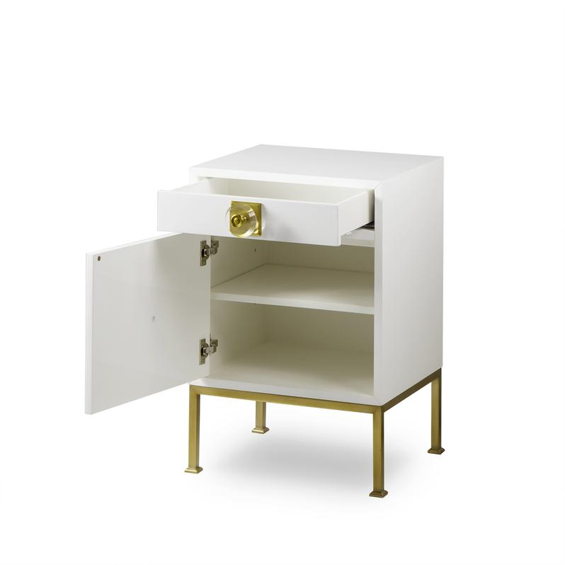 Formal White Lacquer Nightstand