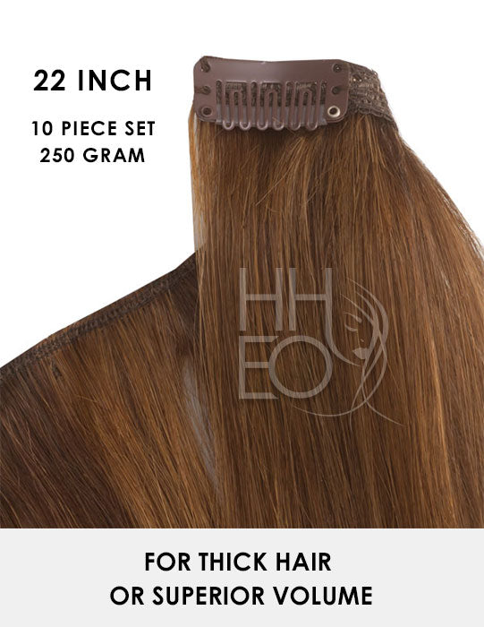 22 Inch Clip In Remy Human Hair Extensions – 10 piece 250 gram set - *Popular*
