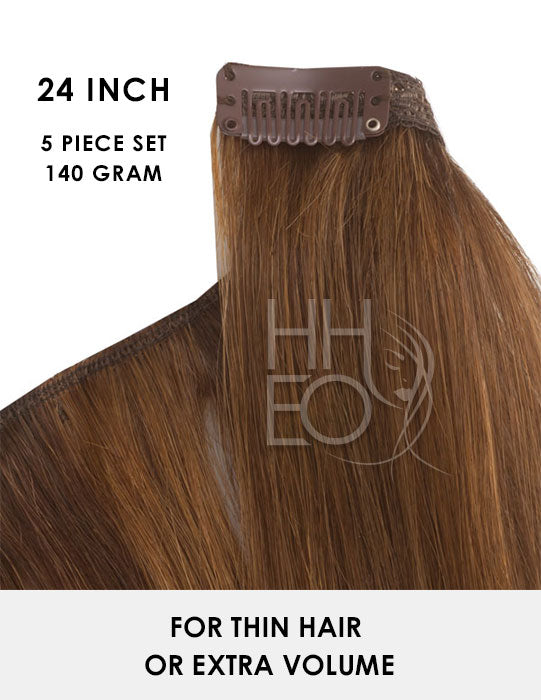 24 Inch Clip In Hair Extensions - 100% Remy Hair - 5 piece 140 gram set