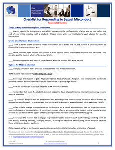 Checklist for Responding to Allegations of Sexual Misconduct for Students