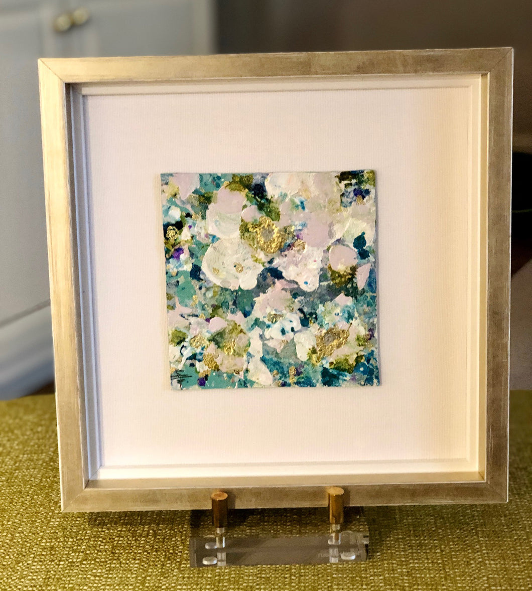 White and Aqua Flower Leatherette