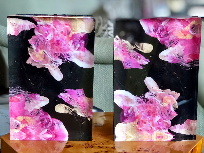 Black with Pink Flowers 6x4 Acrylic Block Set