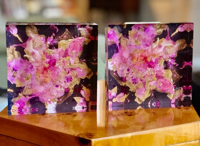 Black with Pink and Gold 4x4 Acrylic Floral Block Set